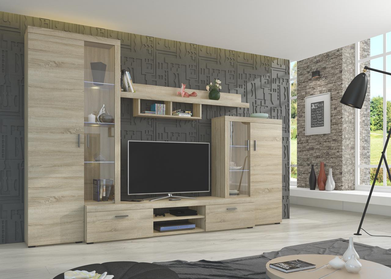 734a3ab0a649 Moderné obývacie steny   Lacná obývacia stena ASTI sonoma