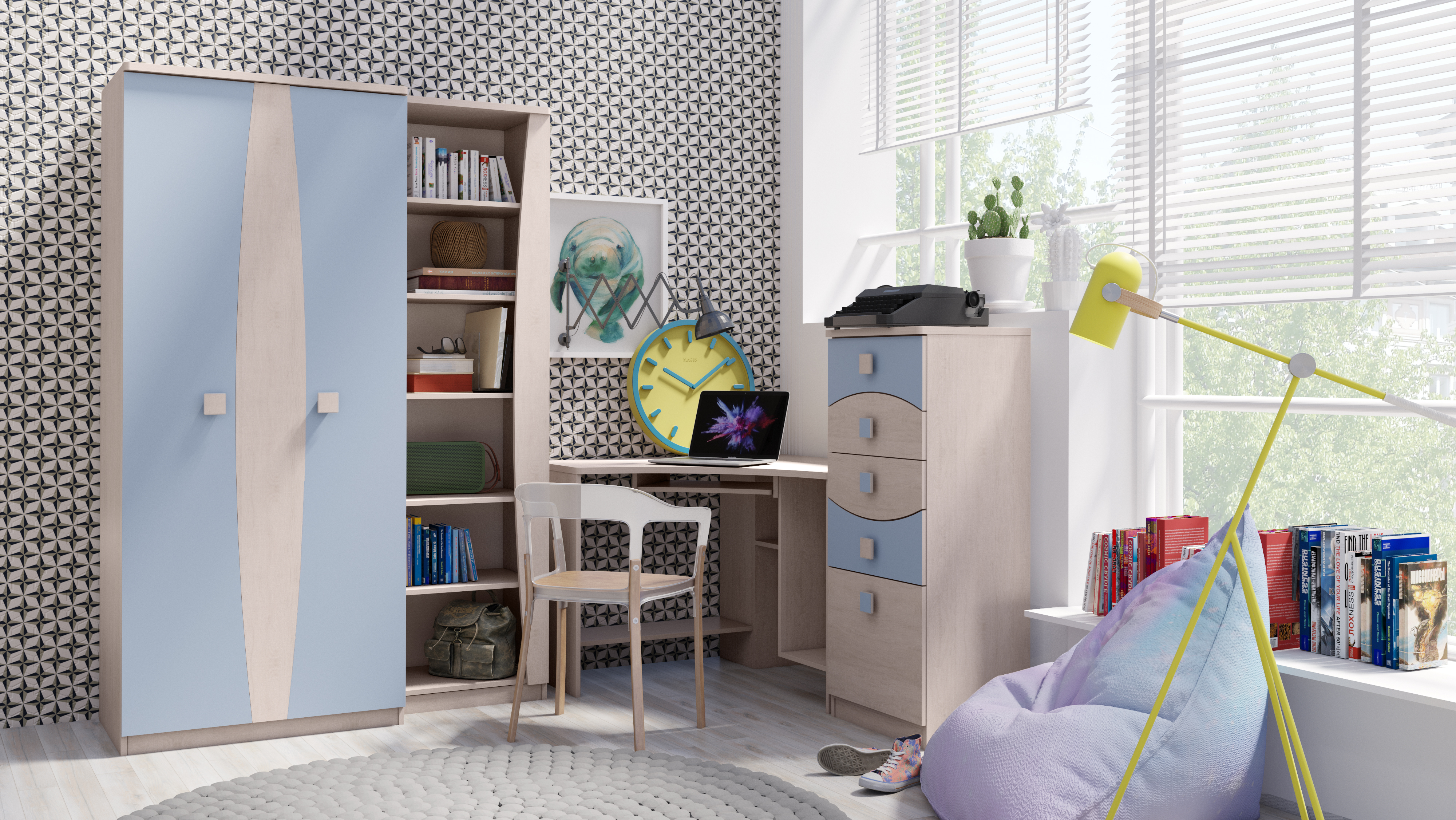 792699366127 Detské steny s písacím stolom   Trendy detská izba TENUS Zostava 19